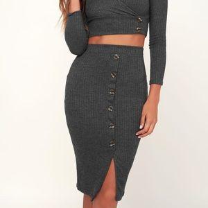 Robinson Charcoal Ribbed Grey Pencil Skirt
